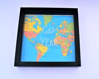 Gap Year Fund Money Bank Frame Savings Travel Graduation Shadow Box