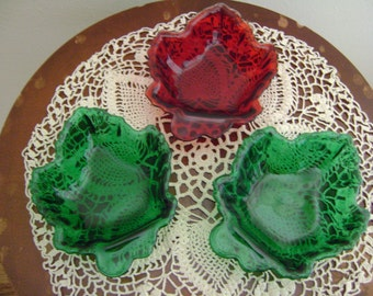 Vintage Maple Leaf Red and Green Candy or Nut Dish