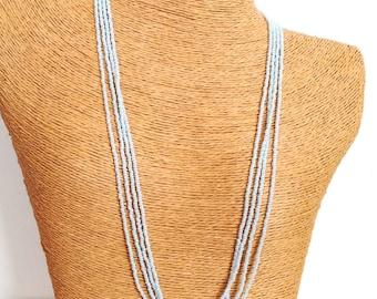 Light sky blue minimalist necklace, beaded necklace,dainty necklace,seed bead necklace,bridesmaid gift,multistrand,bridesmaid necklace,gift