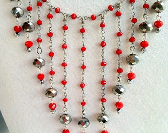 Red Bib Necklace, Rosary Beads, Red Statement Necklace, Silver Bib, Statement Bib Red Necklace, RED Bib, Red Chain Bib Gioielli Crystal Bib