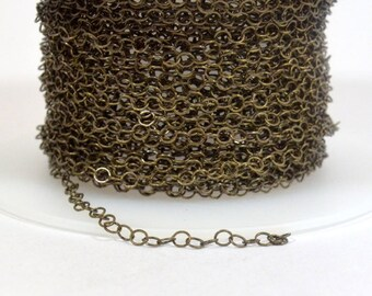 Very Fine Circle Chain - Antique Brass - CH160 - Choose Your Length