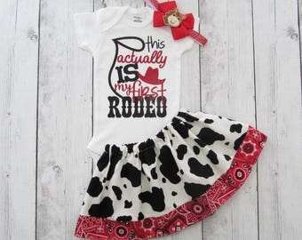 Cowgirl First Birthday Outfit - this actually is my first rodeo, first birthday girl, red bandana, cowgirl dress, cowgirl 1, cow print skirt
