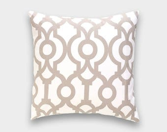 Ecru Taupe Tan Lyon Pillow Cover. 16x16. Tan Trellis Geometric Cushion Cover. Lattice Pillow Cover. Tan Pillow. Ecru. Beige.