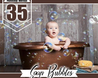35 Soap Bubbles Photo Overlays, Realistic Photoshop effect, soap bubble, Photoshop overlay, fairy dreamy fantasy overlays, png file