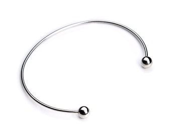 10pcs Womens Adjustable Stainless Steel Cuff Bracelet Blank Ball End 1.4mm Thick