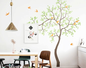 Blossom Tree Wall Decal With Birds For Nursery, Nursery Vinyl Wall Decal, Self Adhesive Wall Decal, NT002