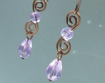 Purple dangle earrings, Rustic copper jewelry, Elegant birthday Christmas gift for her