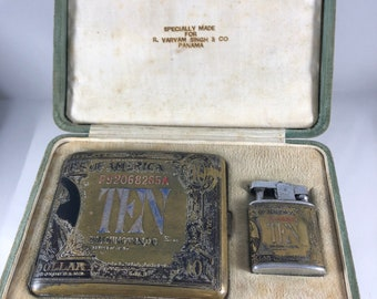 Vintage 1920's Ten Dollar Gold Certificate Etched Cigarette Case, Gold and Silver Tones with engraved Matching Lighter Original Box