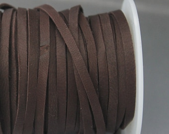 1 m Dark brown deerskin cord 3x1.2mm Dark brown deerskin lace 3mm Brown cord Brown lace Brown leather cord Brown leather lace
