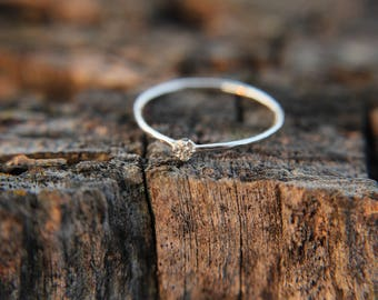 Cubic Zirconia, sterling silver hammered stacking ring with 2mm stone