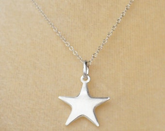 Star Necklace Sterling Silver Satin Finish Celestial Charm Pendant Cable Chain