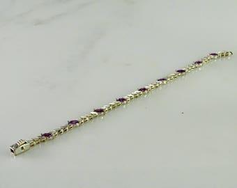 "Sterling Silver Bracelet with Lavender Stones 7 1/4"""
