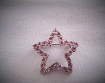 Vintage Star Pin/Pink Rhinestones
