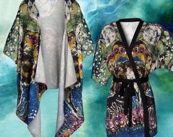 Llamas Kimono Cardigan - Hills Alive With Llamas Batik