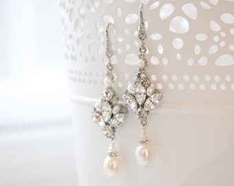 Bridal Earrings Vintage, Wedding Earrings Chandelier, Bridal Jewelry Earrings for Brides