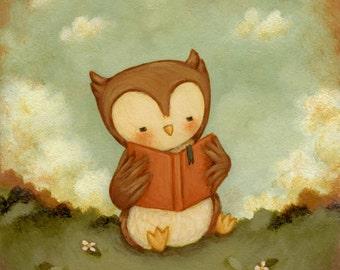 Art for Kids - Owl Love Books Print 5x5 / 7x7 - Kids Wall Art, Owl, Nursery Decor, Nursery Art, Owl Decor, Baby Owl, Baby Art Owl, Cute