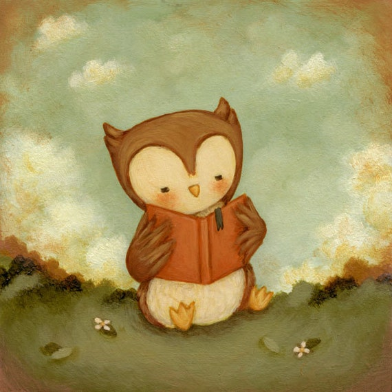 Art for Kids Owl Love Books Print 5x5 / 7x7 Kids Wall Art
