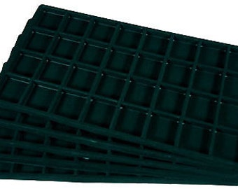 3 - 32 Compartment Black Tray Insert Drawer Organizer Storage Jewelry Case
