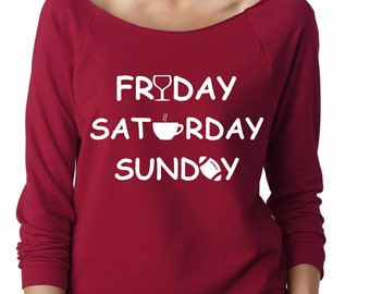 Wine, Coffee and Football Shirt, Weekend Shirt, Friday Saturday Sunday Shirt, Sweatshirt,workout clothing. sweatshirt Gym shirt