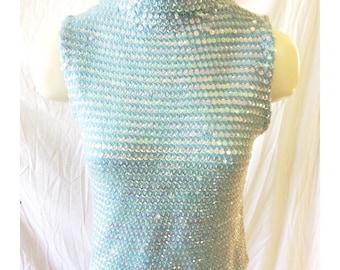 Vintage Handmade Light Blue Sequined Knit Top
