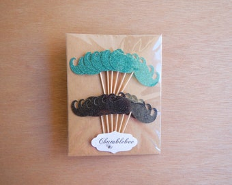 CLEARANCE. Mixed Peacock and Black Glitter Moustache Cupcake Toppers.