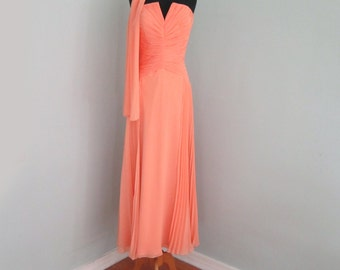 Peach Evening Gown, Peach Prom Dress, Peach Ball Gown, Coral Dress, Cocktail Dress, Coral Bridesmaid Dress, Mother of the Bride