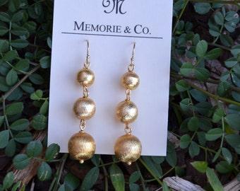 Brushed Gold Beaded Earrings
