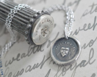 Greek tragedy mask wax seal necklace pendant ... levez le donc - remove your mask - silver French antique wax seal jewelry