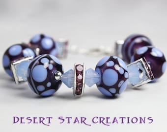 Glass Beaded Bracelet Purple Blue Lampwork and Swarovski Crystal