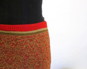 Red Tweed Wool Pencil Skirt Deadstock/NOS