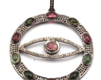 Spring Sale Pave Diamond Pendant , 925 Sterling Silver Pave Tourmaline, Spinel & Diamond EVIL EYE Pendant