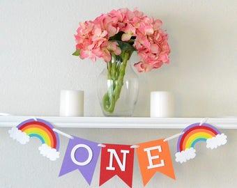First Birthday Rainbow Decoration - Rainbow Party Banner - 1st Birthday Party Decor Rainbow - First Birthday Party Banner Rainbow -Highchair