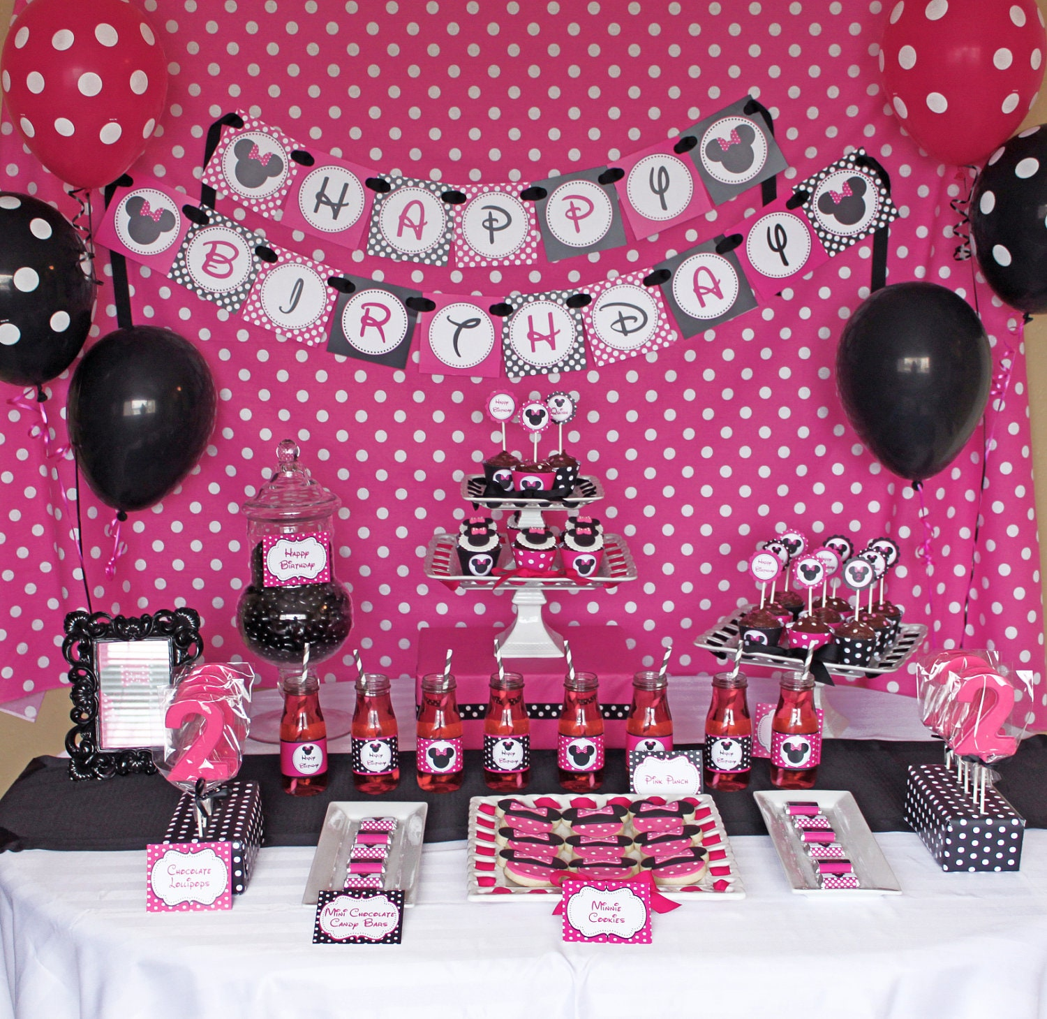 Minnie Mouse Pink Deluxe birthday party package PRINTABLE