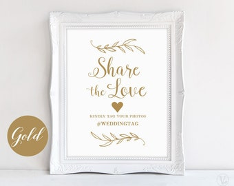 Gold Wedding Hashtag Sign, Share the Love Sign, Printable Hashtag Sign, Wedding Photo Hashtag Sign, VW38