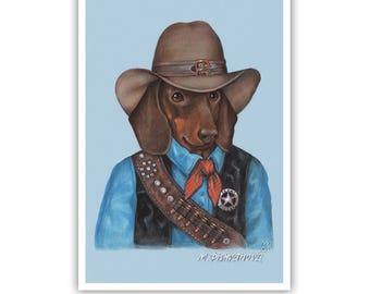 Dachshund Art Print - Texas Ranger - Western Dog Wall Art - Pets in Art - Whimsical Dog Portraits by Maria Pishvanova