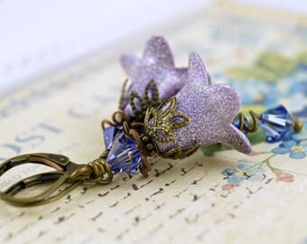 Glittering Lilac Lucite Flower Earrings, Enamel Earrings, Painted Flower Earrings, Swarovski Crystals. Limited Edition