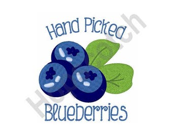 Hand Picked Blueberries - Machine Embroidery Design, Blueberries
