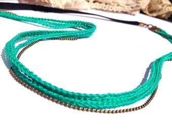 """Headband Vert Emeraude LIANES 3 tresses - Coiffure Mariage / Cérémonie / Quotidien- Collection """"Gypsy Chic"""""""