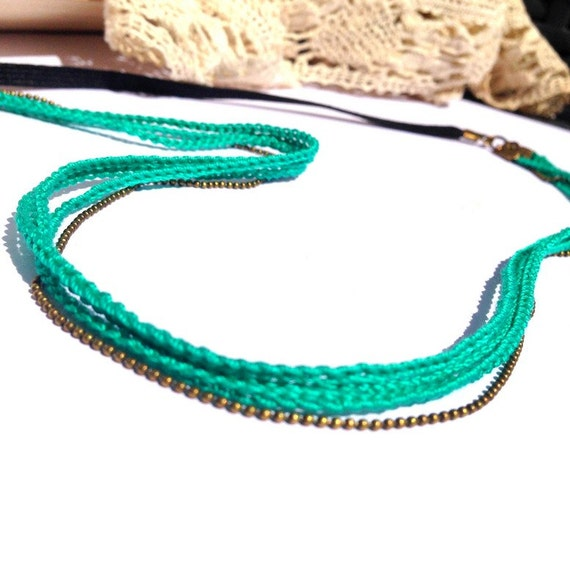 "Green Emerald 3 braids - wedding hair vine headband / ceremony / every day - ""Gypsy Chic"" Collection"