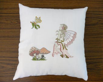 Unique handmade machine embroidered enchanted fairy cushion pillow