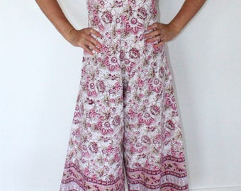Indian cotton block print wide leg jumpsuit vintage style