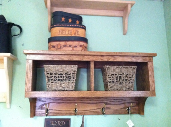 2 cubby wall shelf oak wood 30 wide wall shelf coat rack. Black Bedroom Furniture Sets. Home Design Ideas