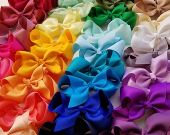 "4 Hair Bows/ 4 inch/ 43 colors/ Grosgrain Bow Clips, Grosgrain Hair Bows, 4"" Ribbon Bow, Grosgrain Ribbon, Toddler Bow Clip, bow hair clip"