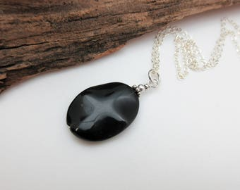 Oval Black Obsidian Pendant with Sterling Silver Chain – Natural Stone Necklace – Black Stone Pendant