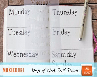 Days of the Week SERIF FONT Weekly Layout Bullet Journal Stencil for Travelers Notebook Leuchtturm Moleskine A5 Planner