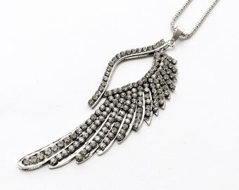 Rhinestone Encrusted Angel Wing Necklace. FAST shipping w/Tracking. Will Arrive wrapped in a Gift Box & Ribbon.