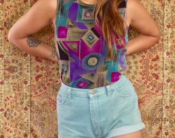 Sleeveless Top Mark Singer Softwear Petites Geometric Abstract Printed Blouse Vintage 1990s Retro Groovy Tunic  Purple Black Teal SMALL Top