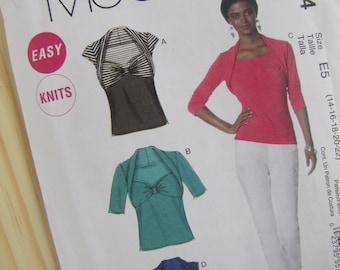 Uncut McCalls Sewing Pattern 6284 - Misses Tops - Size 12-22