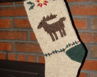 Moose Christmas Stocking Pattern to Knit Your Own