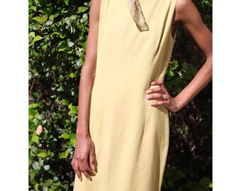 Structured Silk Muted-Yellow Sleeveless Shift Dress- XS/S